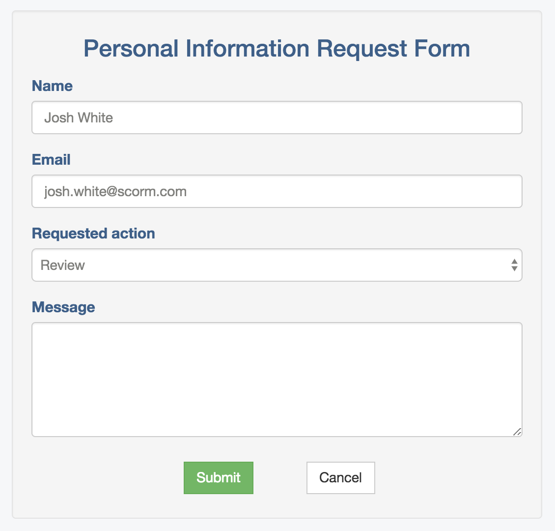 Requesting a review or deletion of personal data in SCORM Cloud